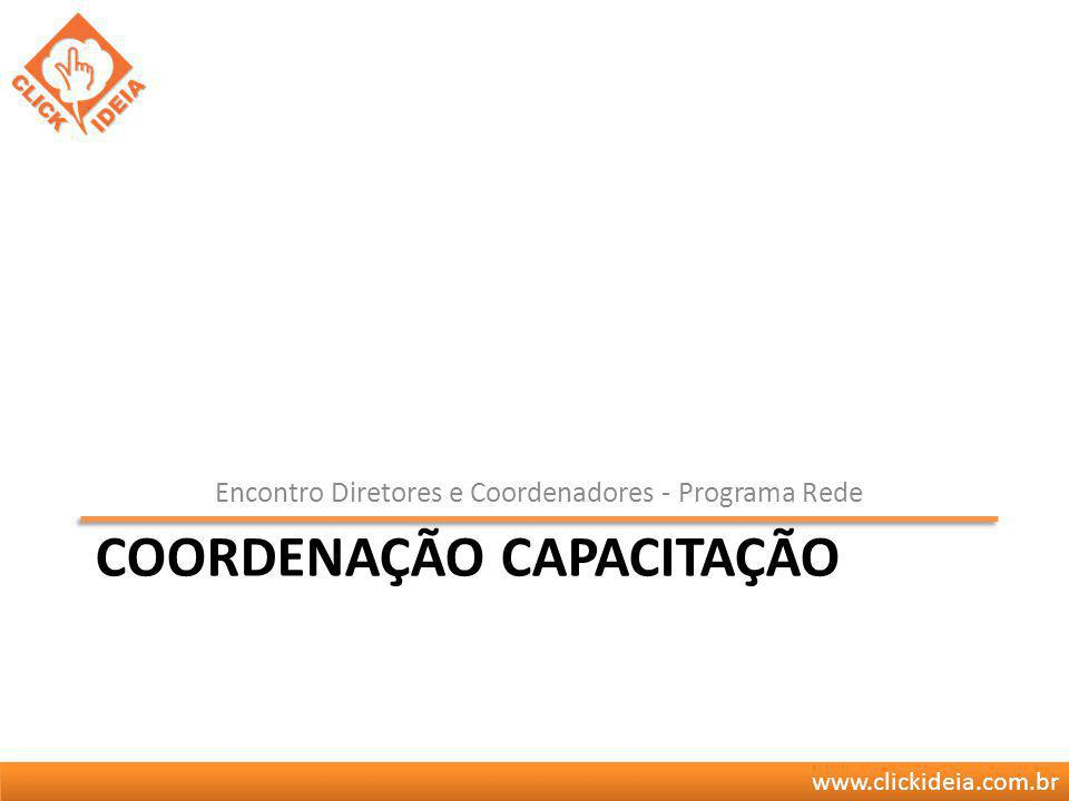 www.clickideia.com.br COORDENAÇÃO CAPACITAÇÃO Encontro Diretores e Coordenadores - Programa Rede