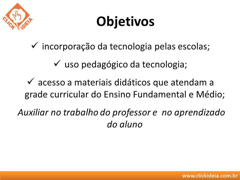 www.clickideia.com.br Objetivos incorporação da tecnologia pelas escolas; uso pedagógico da tecnologia; acesso a materiais didáticos que atendam a gra