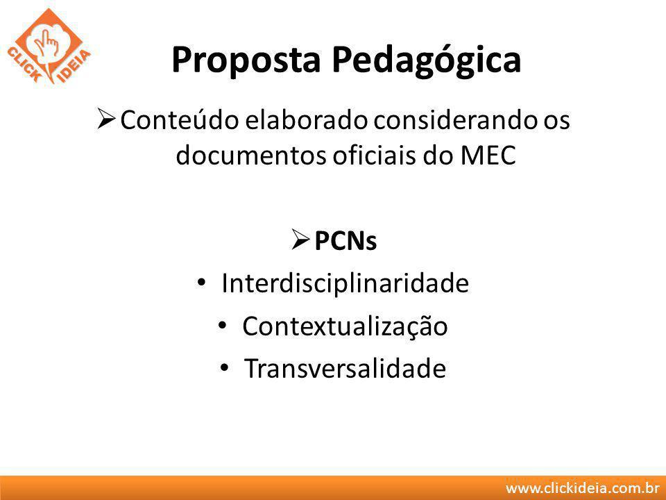 www.clickideia.com.br Proposta Pedagógica Conteúdo elaborado considerando os documentos oficiais do MEC PCNs Interdisciplinaridade Contextualização Tr