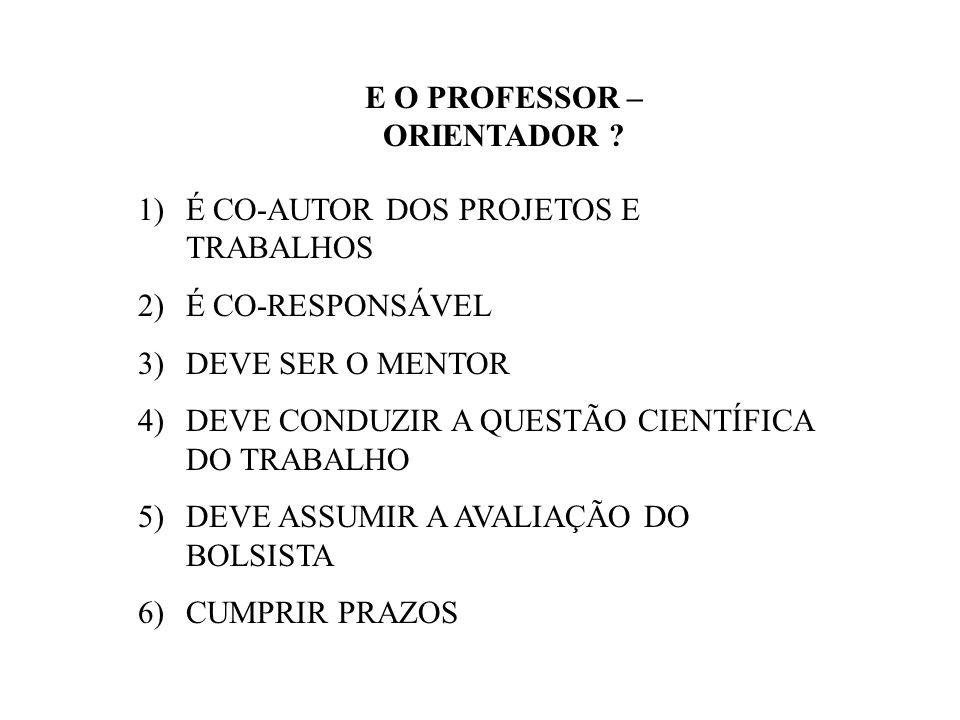 E O PROFESSOR – ORIENTADOR .