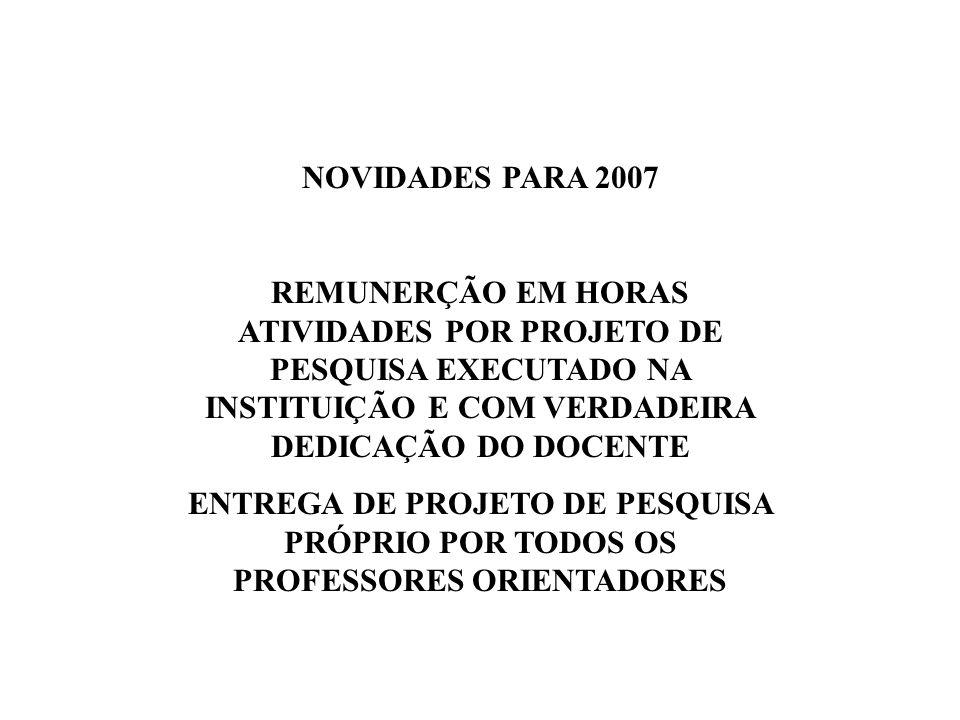NOVIDADES PARA 2007 REMUNERÇÃO EM HORAS ATIVIDADES POR PROJETO DE PESQUISA EXECUTADO NA INSTITUIÇÃO E COM VERDADEIRA DEDICAÇÃO DO DOCENTE ENTREGA DE PROJETO DE PESQUISA PRÓPRIO POR TODOS OS PROFESSORES ORIENTADORES