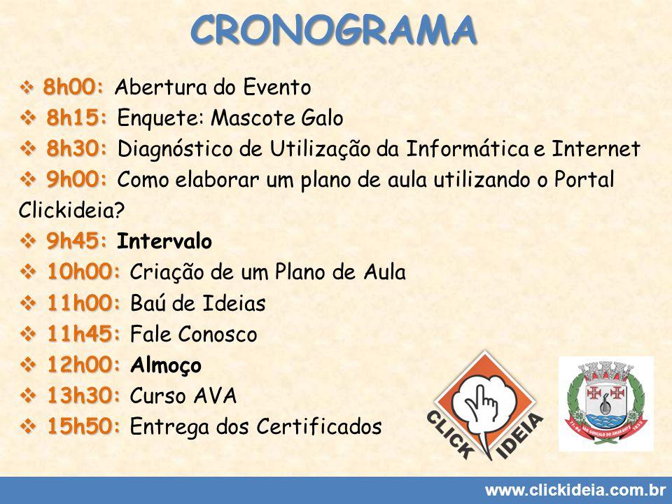CRONOGRAMA 8h00: 8h00: Abertura do Evento 8h15: 8h15: Enquete: Mascote Galo 8h30: 8h30: Diagnóstico de Utilização da Informática e Internet 9h00: 9h00: Como elaborar um plano de aula utilizando o Portal Clickideia.