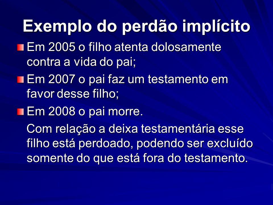 Exemplo do perdão implícito Em 2005 o filho atenta dolosamente contra a vida do pai; Em 2007 o pai faz um testamento em favor desse filho; Em 2008 o p