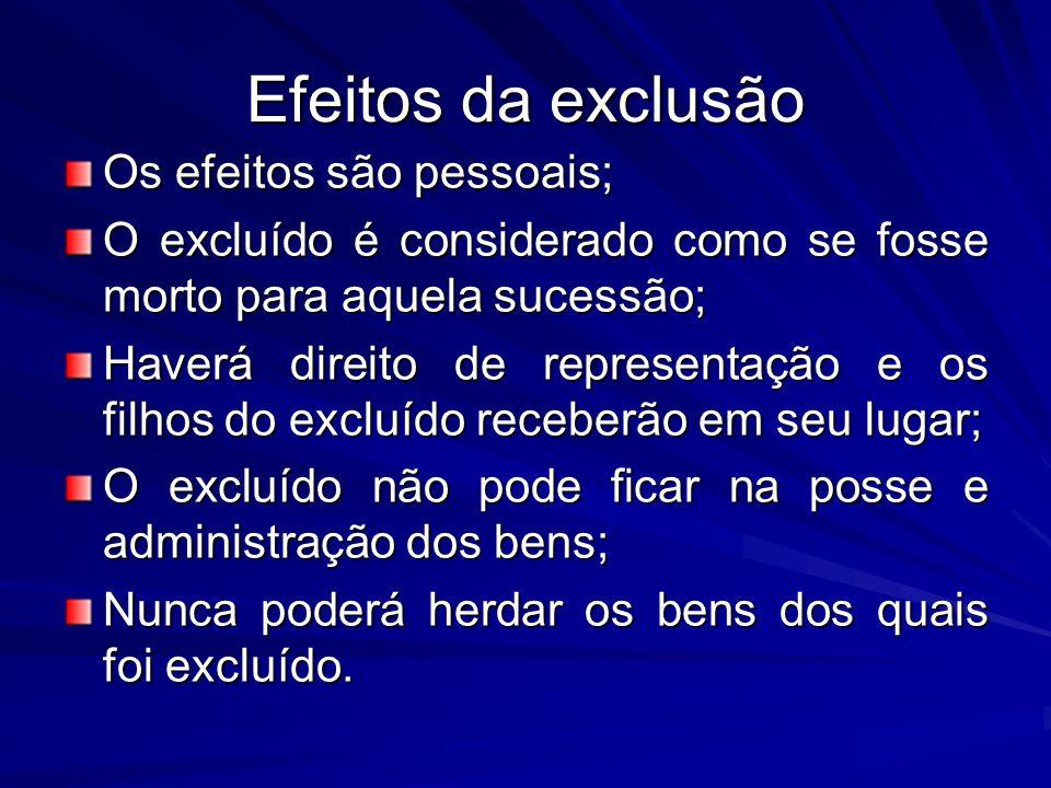 Efeitos da exclusão Os efeitos são pessoais; O excluído é considerado como se fosse morto para aquela sucessão; Haverá direito de representação e os f