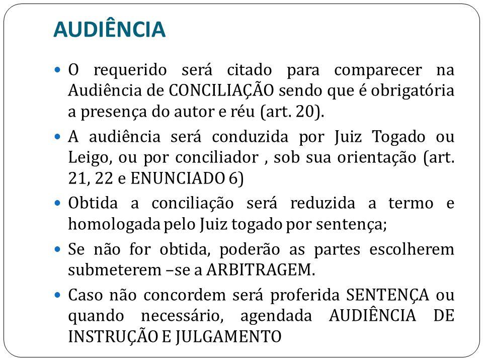 AUDIÊNCIA O requerido será citado para comparecer na Audiência de CONCILIAÇÃO sendo que é obrigatória a presença do autor e réu (art. 20). A audiência