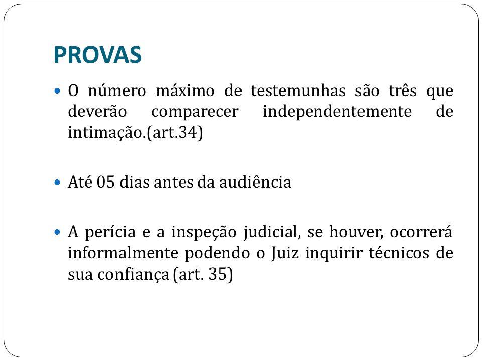 PROVAS O número máximo de testemunhas são três que deverão comparecer independentemente de intimação.(art.34) Até 05 dias antes da audiência A perícia