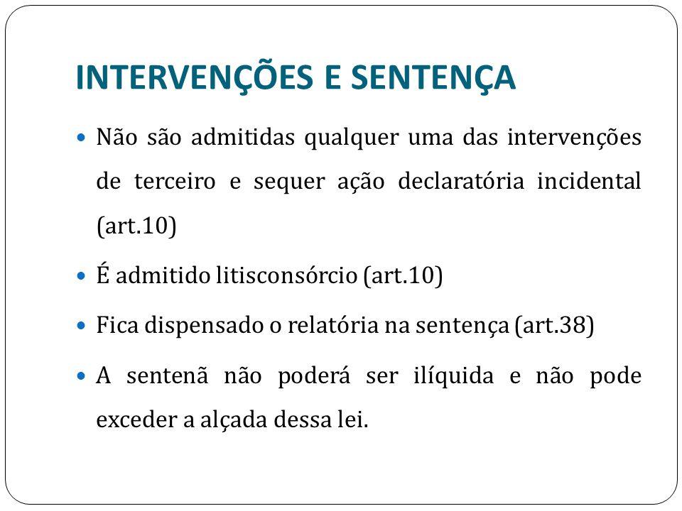 INTERVENÇÕES E SENTENÇA Não são admitidas qualquer uma das intervenções de terceiro e sequer ação declaratória incidental (art.10) É admitido litiscon