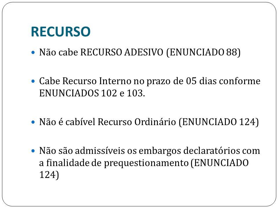 RECURSO Não cabe RECURSO ADESIVO (ENUNCIADO 88) Cabe Recurso Interno no prazo de 05 dias conforme ENUNCIADOS 102 e 103. Não é cabível Recurso Ordinári