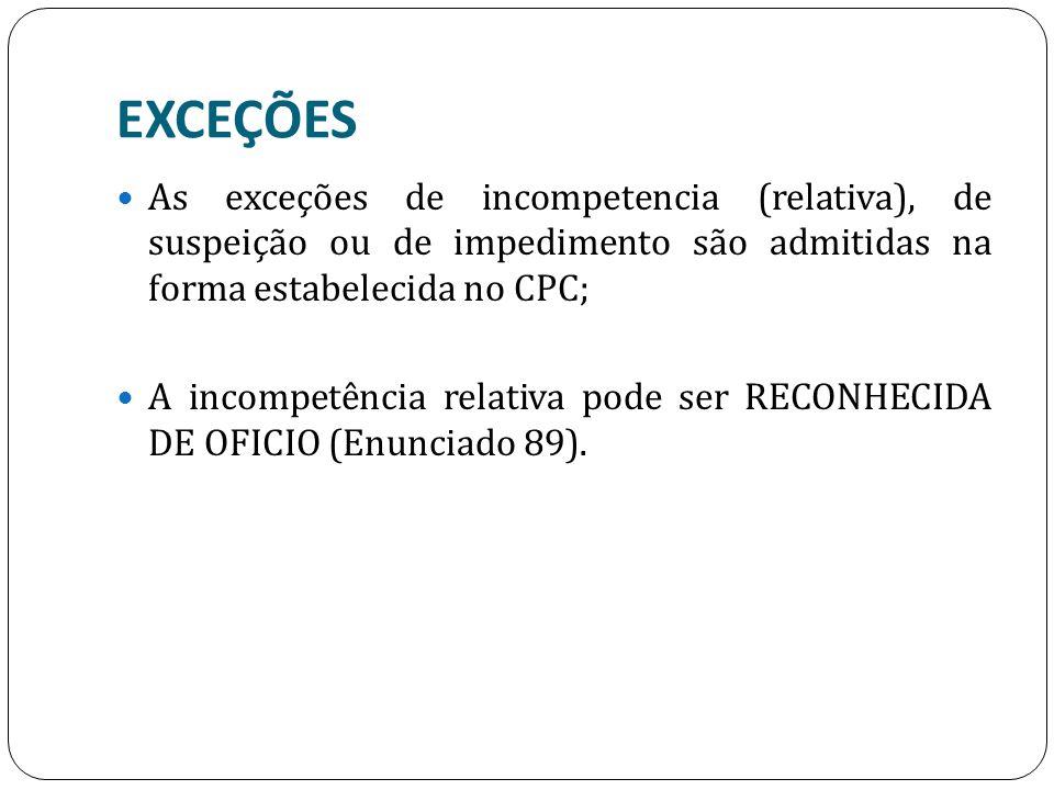 EXCEÇÕES As exceções de incompetencia (relativa), de suspeição ou de impedimento são admitidas na forma estabelecida no CPC; A incompetência relativa pode ser RECONHECIDA DE OFICIO (Enunciado 89).