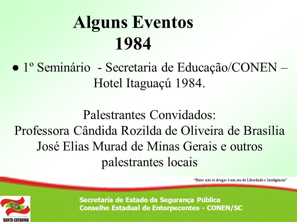 Secretaria de Estado da Segurança Pública Conselho Estadual de Entorpecentes - CONEN/SC 1º Seminário - Secretaria de Educação/CONEN – Hotel Itaguaçú 1