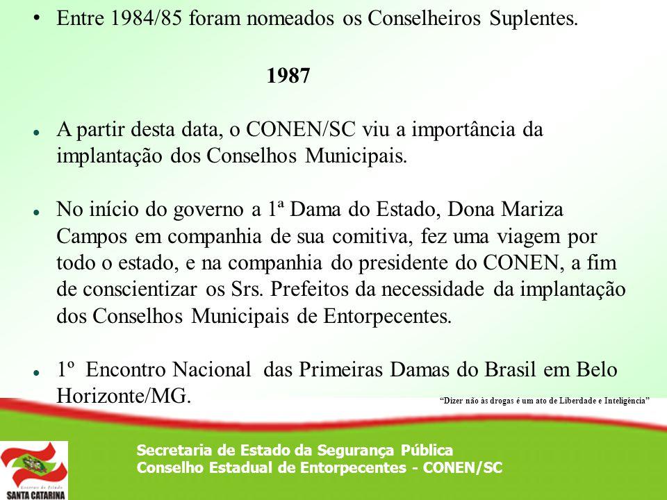Secretaria de Estado da Segurança Pública Conselho Estadual de Entorpecentes - CONEN/SC Entre 1984/85 foram nomeados os Conselheiros Suplentes. 1987 A