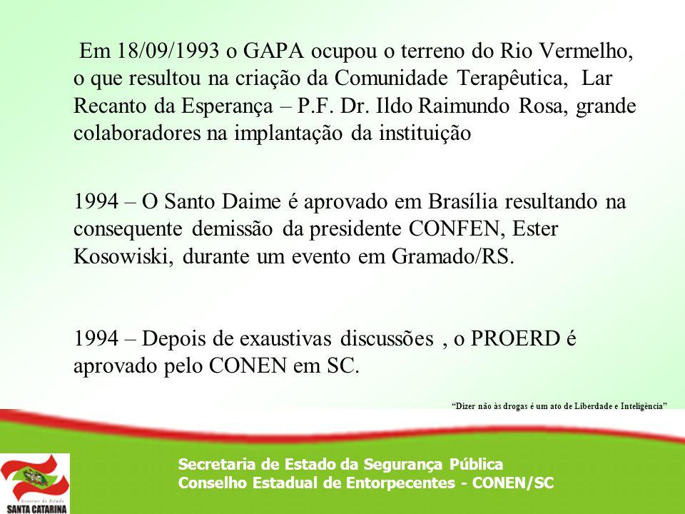 Em 18/09/1993 o GAPA ocupou o terreno do Rio Vermelho, o que resultou na criação da Comunidade Terapêutica, Lar Recanto da Esperança – P.F. Dr. Ildo R