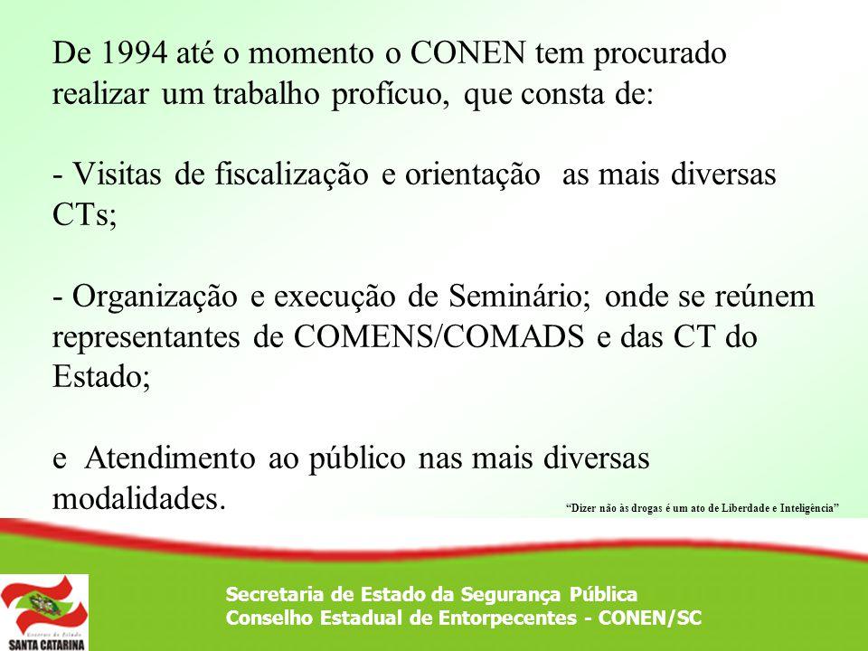 De 1994 até o momento o CONEN tem procurado realizar um trabalho profícuo, que consta de: - Visitas de fiscalização e orientação as mais diversas CTs;