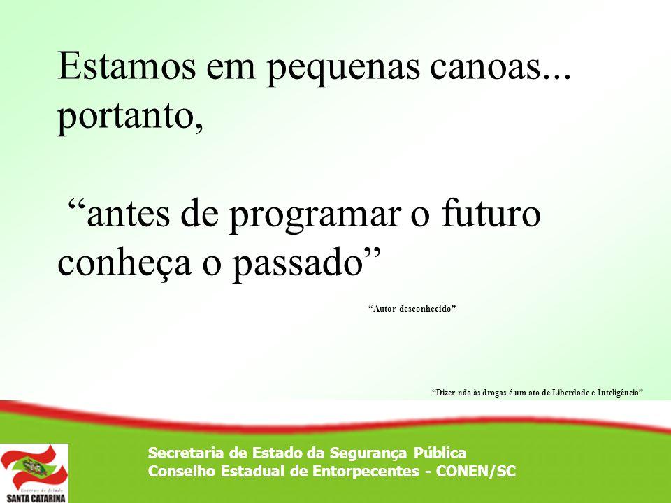 Secretaria de Estado da Segurança Pública Conselho Estadual de Entorpecentes - CONEN/SC À mesma época inicia-se o projeto de instalação da Vila Serene - Cruz.
