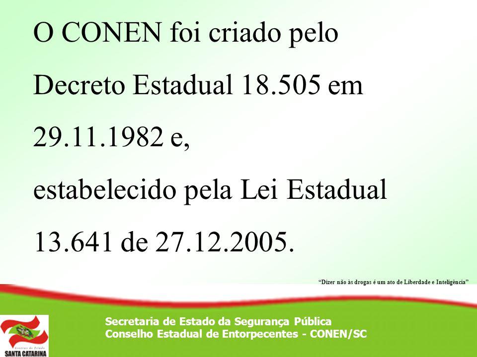 Secretaria de Estado da Segurança Pública Conselho Estadual de Entorpecentes - CONEN/SC 1º Reunião – Nov 1982 – Manicômio Judiciário (Penitenciária Estadual/SC em Florianópolis) À época da sua implantação era composto de 8(oito) Instituições, hoje são 22 em regime paritário.