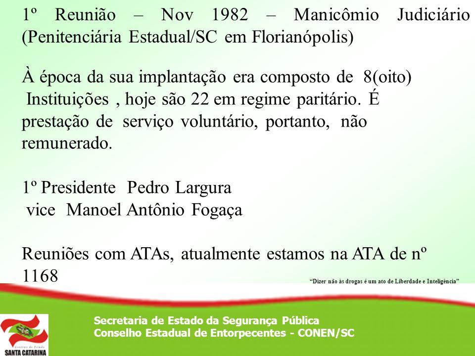 Secretaria de Estado da Segurança Pública Conselho Estadual de Entorpecentes - CONEN/SC 1º Reunião – Nov 1982 – Manicômio Judiciário (Penitenciária Es