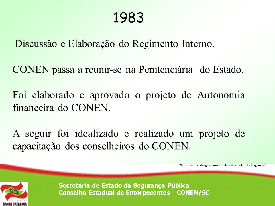 Secretaria de Estado da Segurança Pública Conselho Estadual de Entorpecentes - CONEN/SC 1983 Discussão e Elaboração do Regimento Interno. CONEN passa
