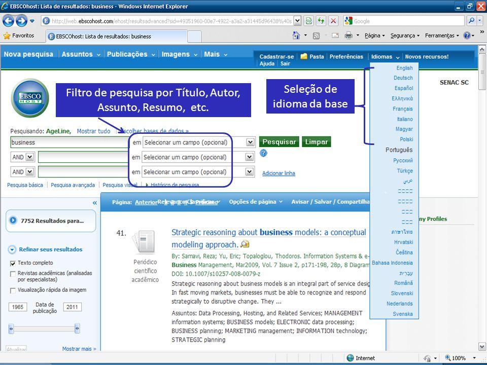 Seleção de idioma da base Filtro de pesquisa por Título, Autor, Assunto, Resumo, etc.