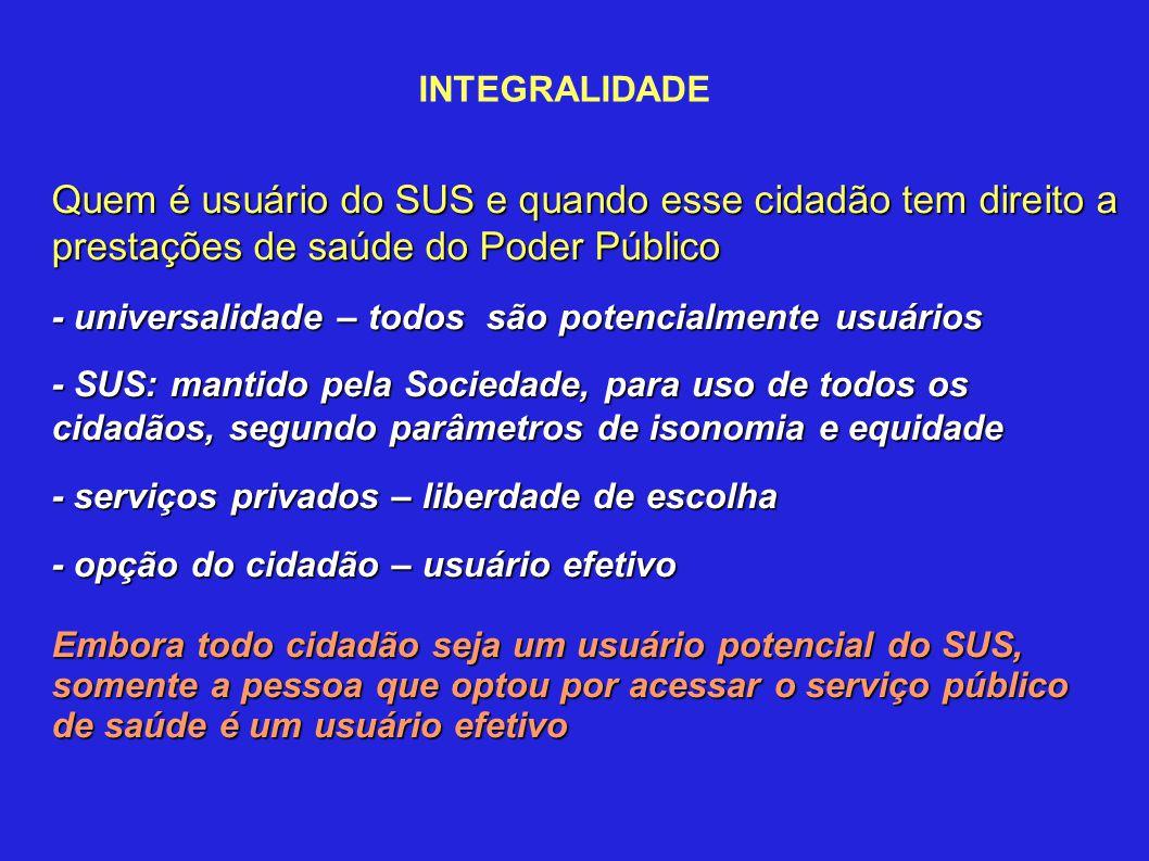 INTEGRALIDADE Quem é usuário do SUS e quando esse cidadão tem direito a prestações de saúde do Poder Público - universalidade – todos são potencialmen