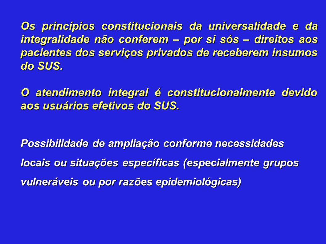 Os princípios constitucionais da universalidade e da integralidade não conferem – por si sós – direitos aos pacientes dos serviços privados de receber