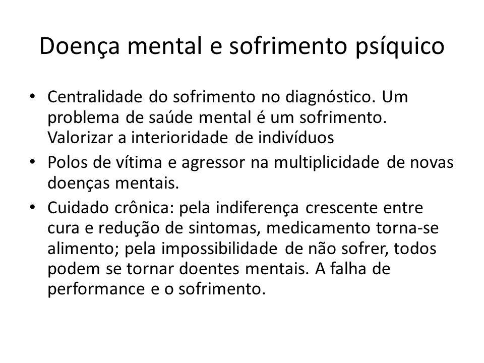 Doença mental e sofrimento psíquico Centralidade do sofrimento no diagnóstico. Um problema de saúde mental é um sofrimento. Valorizar a interioridade