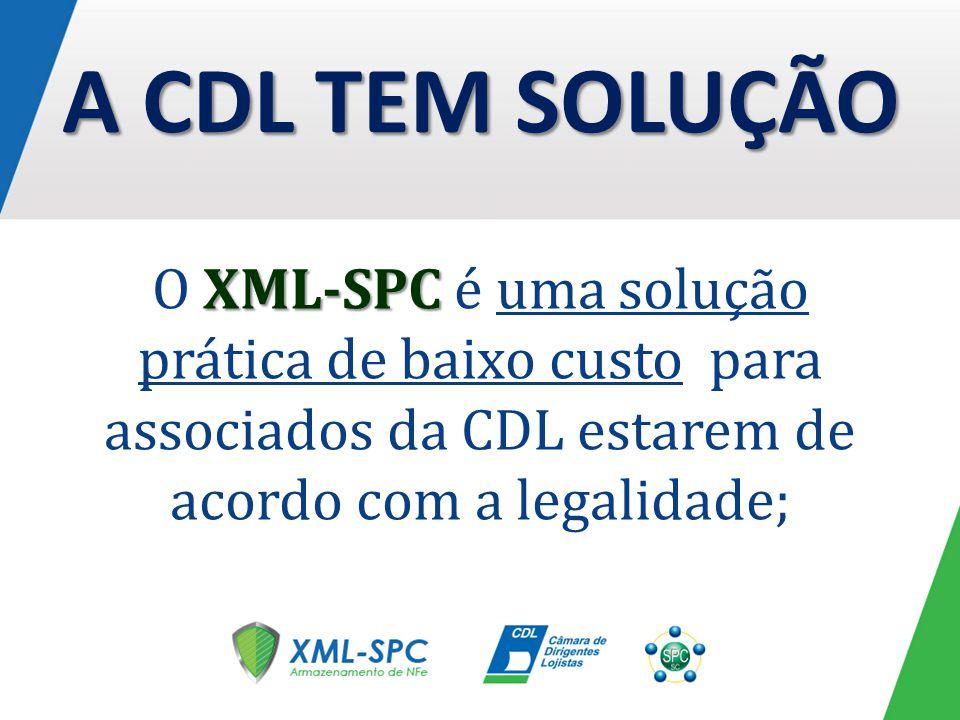 XML-SPC O XML-SPC é uma solução prática de baixo custo para associados da CDL estarem de acordo com a legalidade; A CDL TEM SOLUÇÃO