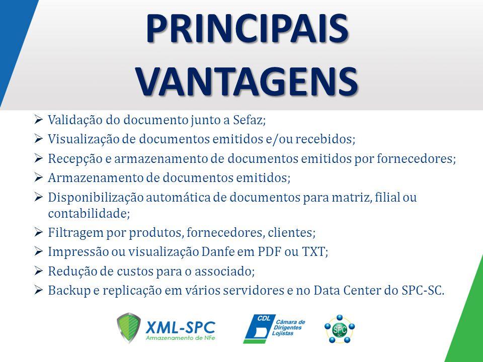 Validação do documento junto a Sefaz; Visualização de documentos emitidos e/ou recebidos; Recepção e armazenamento de documentos emitidos por forneced