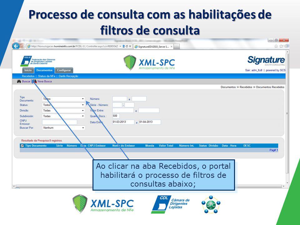 Processo de consulta com as habilitações de filtros de consulta Ao clicar na aba Recebidos, o portal habilitará o processo de filtros de consultas aba