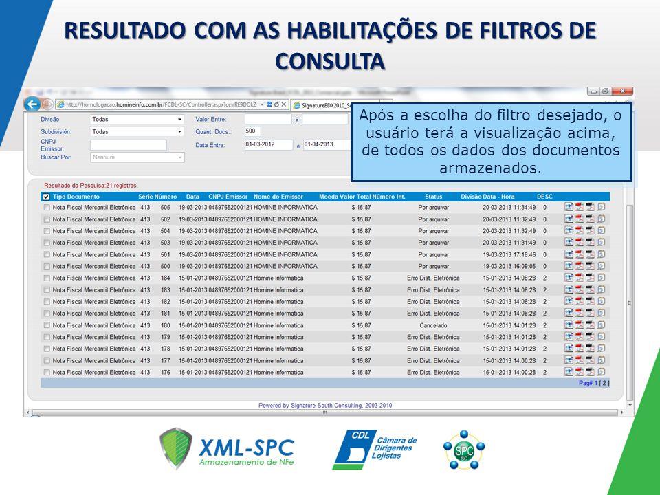RESULTADO COM AS HABILITAÇÕES DE FILTROS DE CONSULTA Após a escolha do filtro desejado, o usuário terá a visualização acima, de todos os dados dos doc