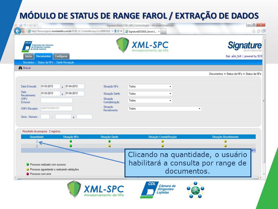 MÓDULO DE STATUS DE RANGE FAROL / EXTRAÇÃO DE DADOS Clicando na quantidade, o usuário habilitará a consulta por range de documentos.