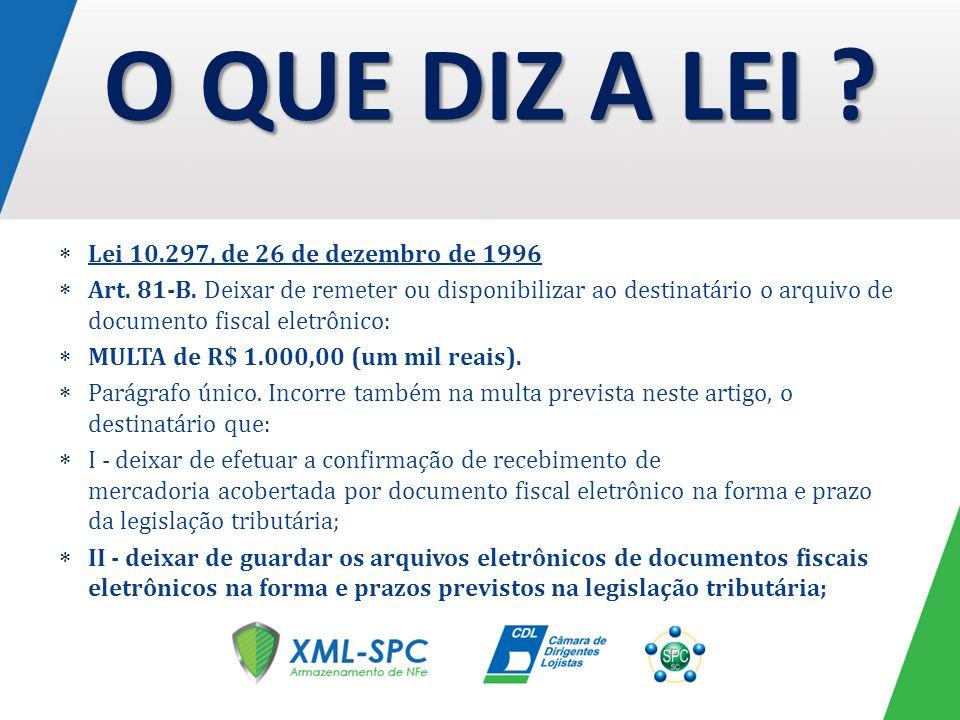 Lei 10.297, de 26 de dezembro de 1996 Art. 81-B. Deixar de remeter ou disponibilizar ao destinatário o arquivo de documento fiscal eletrônico: MULTA d