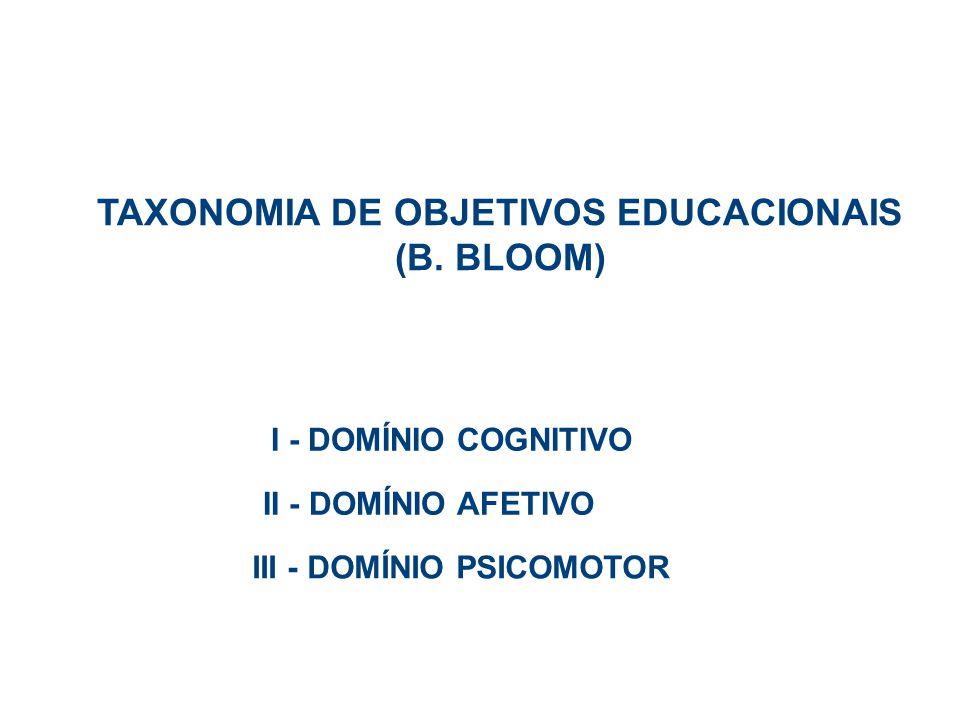 I - DOMÍNIO COGNITIVO 1.Conhecimento 2. Compreensão 3.