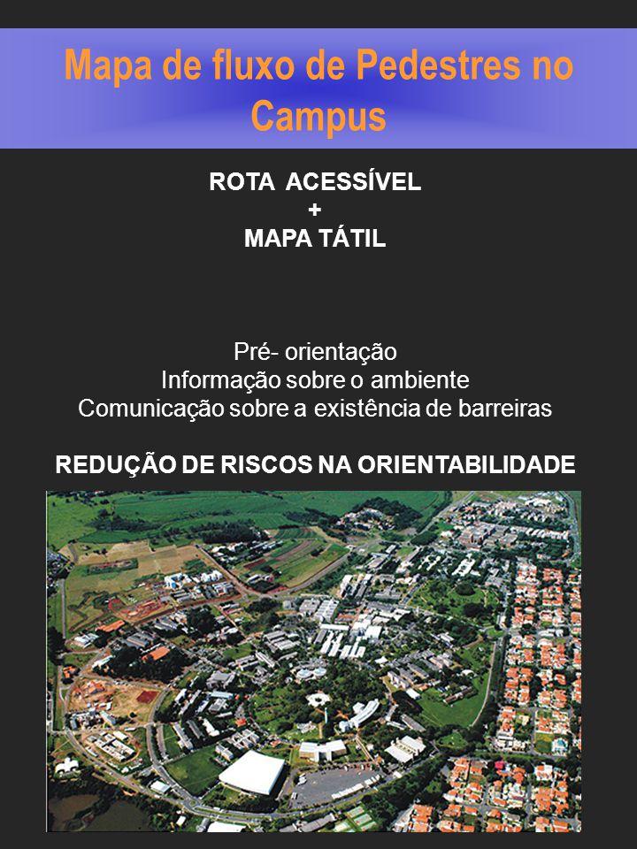 Mapa de fluxo de Pedestres no Campus ROTA ACESSÍVEL + MAPA TÁTIL Pré- orientação Informação sobre o ambiente Comunicação sobre a existência de barreiras REDUÇÃO DE RISCOS NA ORIENTABILIDADE