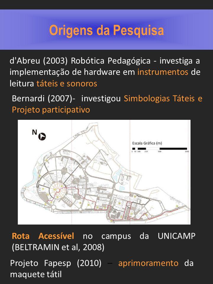 Origens da Pesquisa Rota Acessível no campus da UNICAMP (BELTRAMIN et al, 2008) Bernardi (2007)- investigou Simbologias Táteis e Projeto participativo Projeto Fapesp (2010) – aprimoramento da maquete tátil d Abreu (2003) Robótica Pedagógica - investiga a implementação de hardware em instrumentos de leitura táteis e sonoros