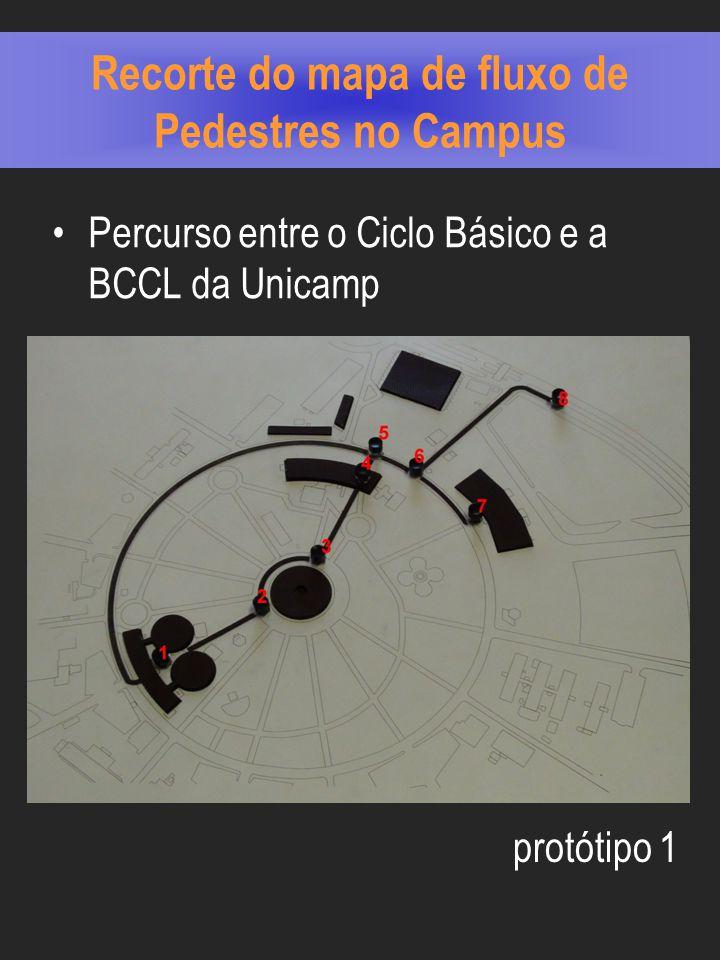 Recorte do mapa de fluxo de Pedestres no Campus Percurso entre o Ciclo Básico e a BCCL da Unicamp protótipo 1
