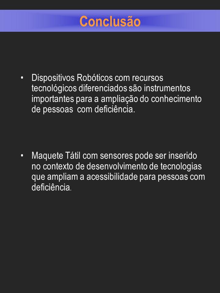 Conclusão Dispositivos Robóticos com recursos tecnológicos diferenciados são instrumentos importantes para a ampliação do conhecimento de pessoas com deficiência.