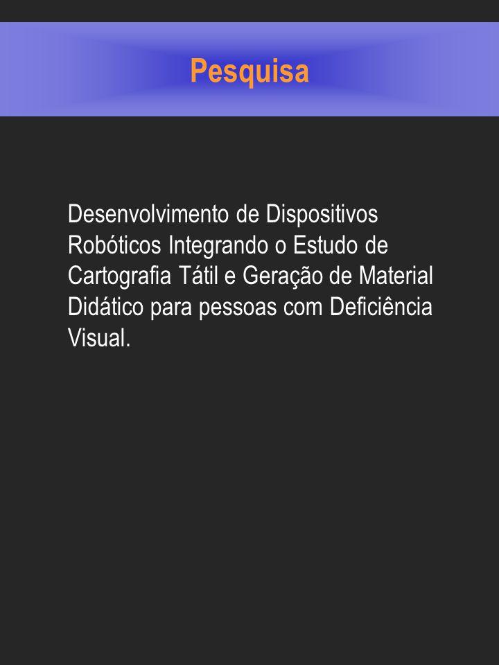 Pesquisa Desenvolvimento de Dispositivos Robóticos Integrando o Estudo de Cartografia Tátil e Geração de Material Didático para pessoas com Deficiência Visual.