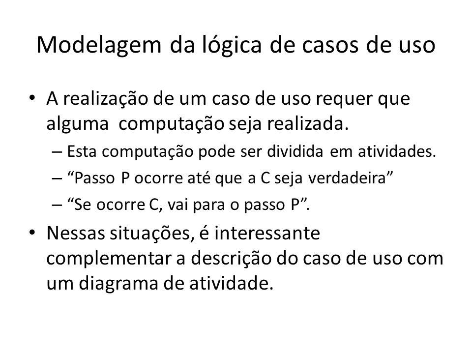 Modelagem da lógica de casos de uso A realização de um caso de uso requer que alguma computação seja realizada. – Esta computação pode ser dividida em