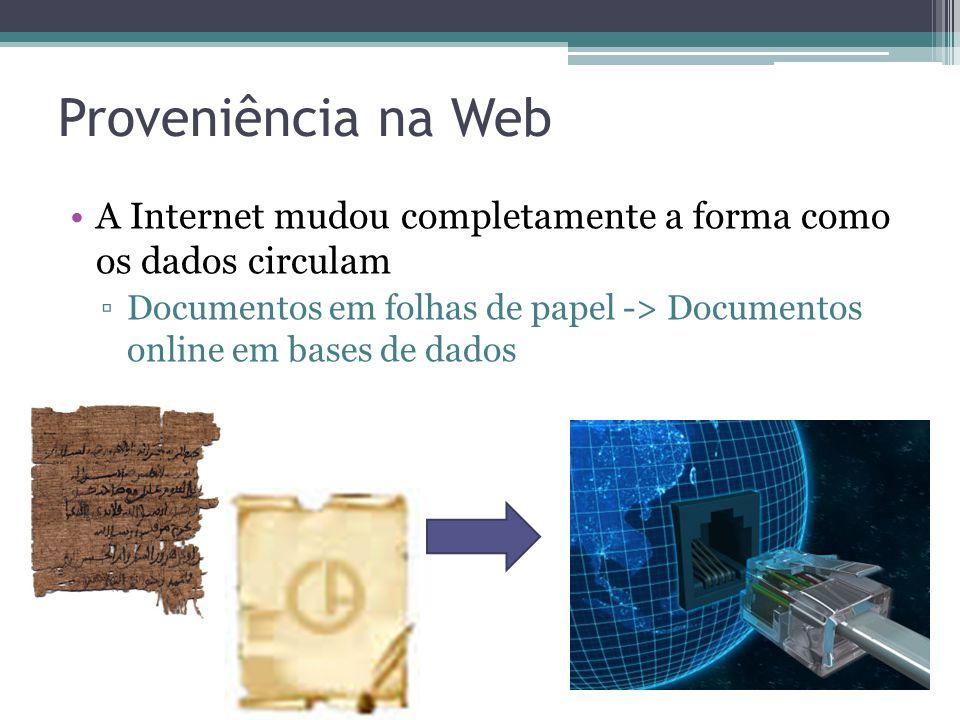 Proveniência na Web A Internet mudou completamente a forma como os dados circulam Documentos em folhas de papel -> Documentos online em bases de dados