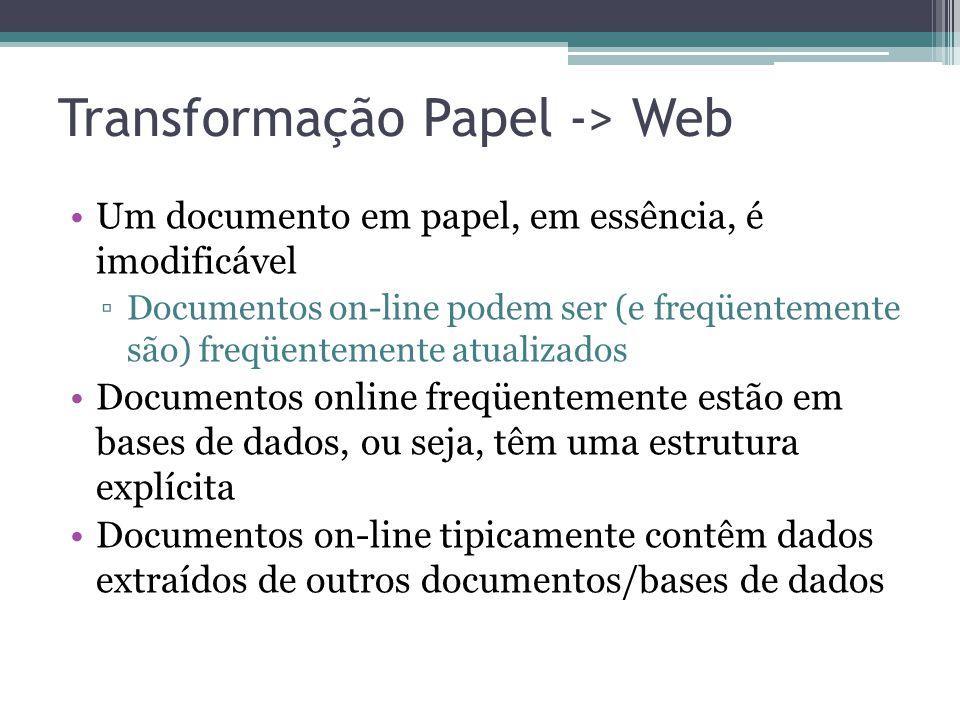 Transformação Papel -> Web Um documento em papel, em essência, é imodificável Documentos on-line podem ser (e freqüentemente são) freqüentemente atual