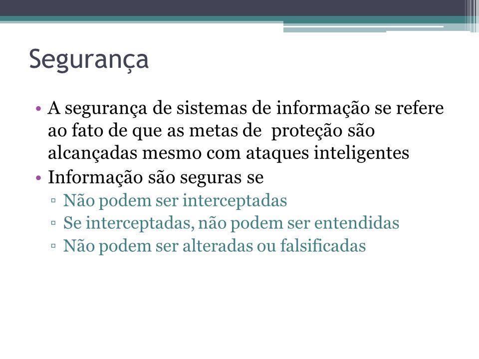 Segurança A segurança de sistemas de informação se refere ao fato de que as metas de proteção são alcançadas mesmo com ataques inteligentes Informação