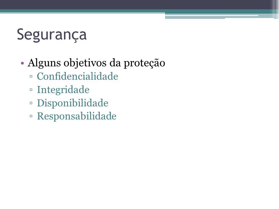 Segurança Alguns objetivos da proteção Confidencialidade Integridade Disponibilidade Responsabilidade