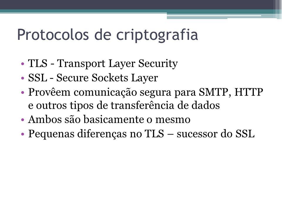 Protocolos de criptografia TLS - Transport Layer Security SSL - Secure Sockets Layer Provêem comunicação segura para SMTP, HTTP e outros tipos de tran