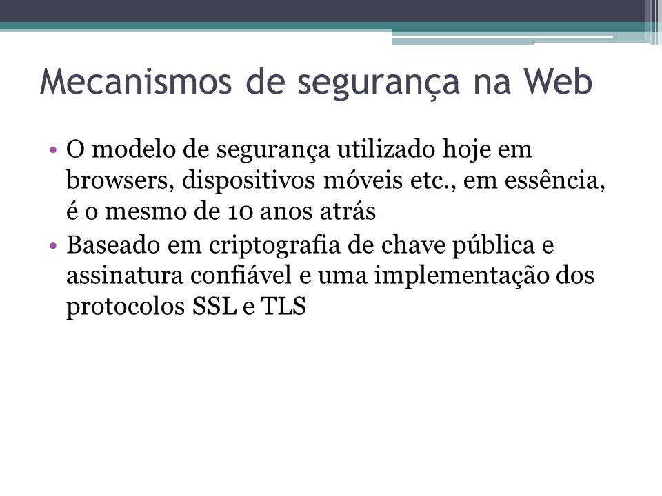Mecanismos de segurança na Web O modelo de segurança utilizado hoje em browsers, dispositivos móveis etc., em essência, é o mesmo de 10 anos atrás Bas