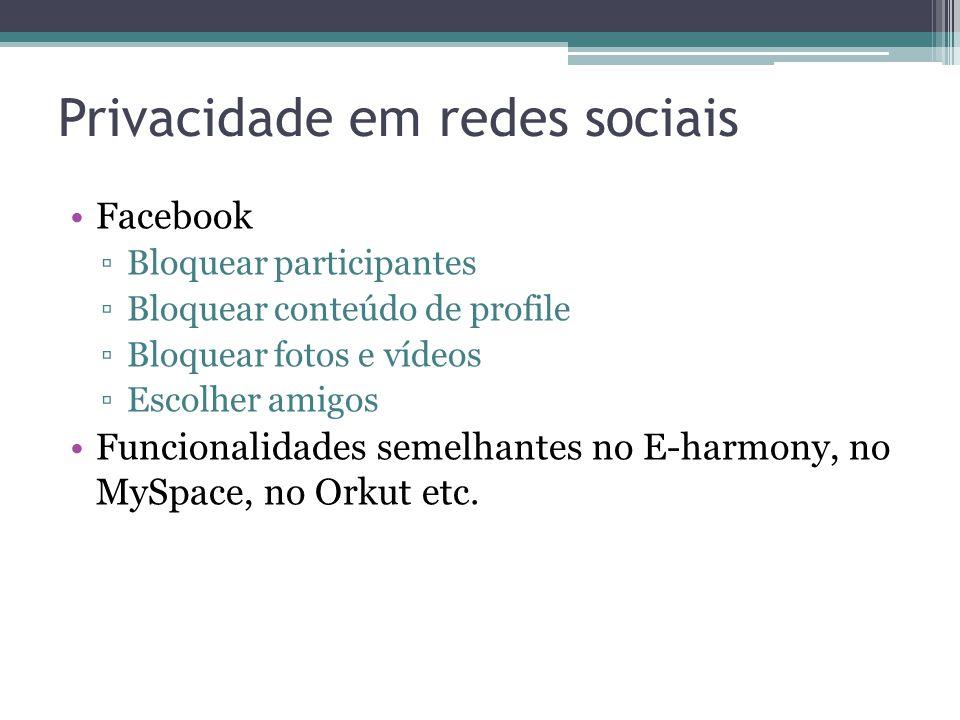 Privacidade em redes sociais Facebook Bloquear participantes Bloquear conteúdo de profile Bloquear fotos e vídeos Escolher amigos Funcionalidades seme
