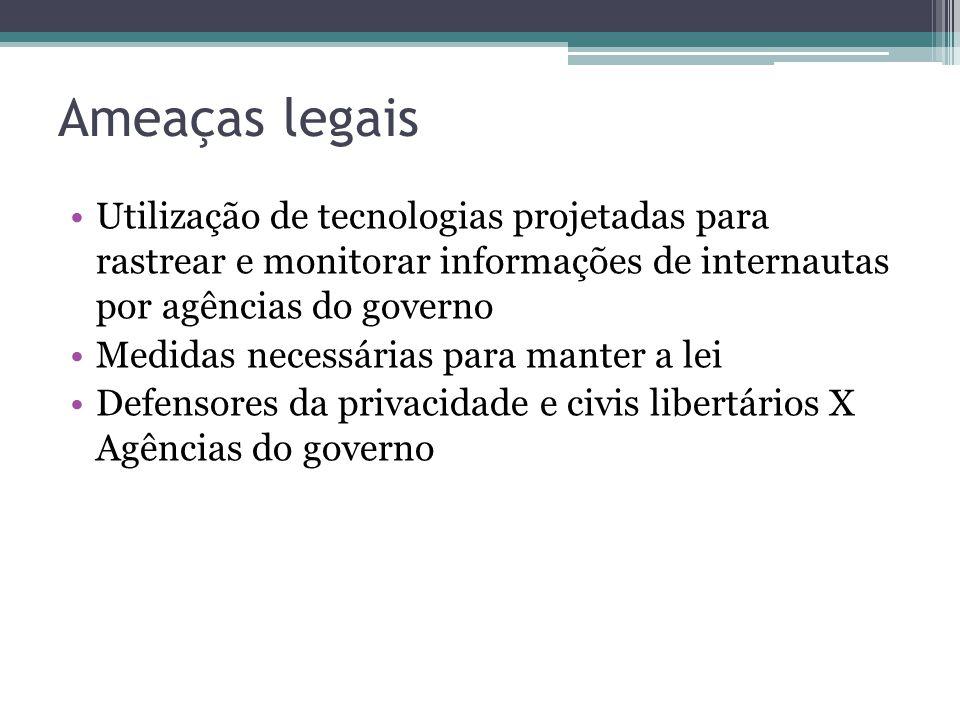 Ameaças legais Utilização de tecnologias projetadas para rastrear e monitorar informações de internautas por agências do governo Medidas necessárias p