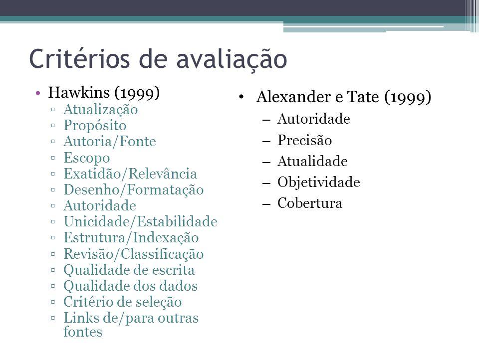 Critérios de avaliação Hawkins (1999) Atualização Propósito Autoria/Fonte Escopo Exatidão/Relevância Desenho/Formatação Autoridade Unicidade/Estabilid
