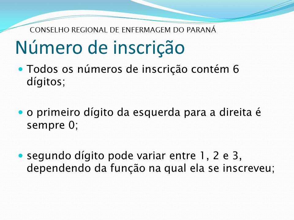 Número de inscrição Todos os números de inscrição contém 6 dígitos; o primeiro dígito da esquerda para a direita é sempre 0; segundo dígito pode varia