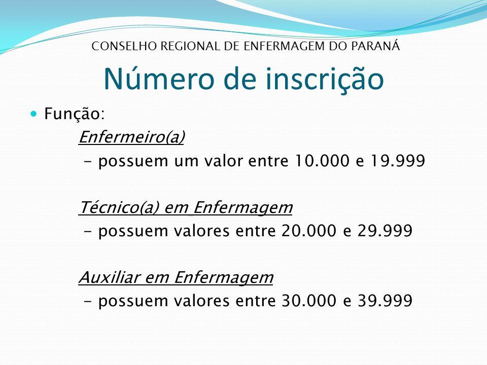Número de inscrição Função: Enfermeiro(a) - possuem um valor entre 10.000 e 19.999 Técnico(a) em Enfermagem - possuem valores entre 20.000 e 29.999 Au