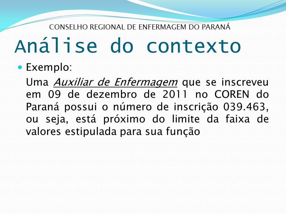 Análise do contexto Exemplo: Uma Auxiliar de Enfermagem que se inscreveu em 09 de dezembro de 2011 no COREN do Paraná possui o número de inscrição 039